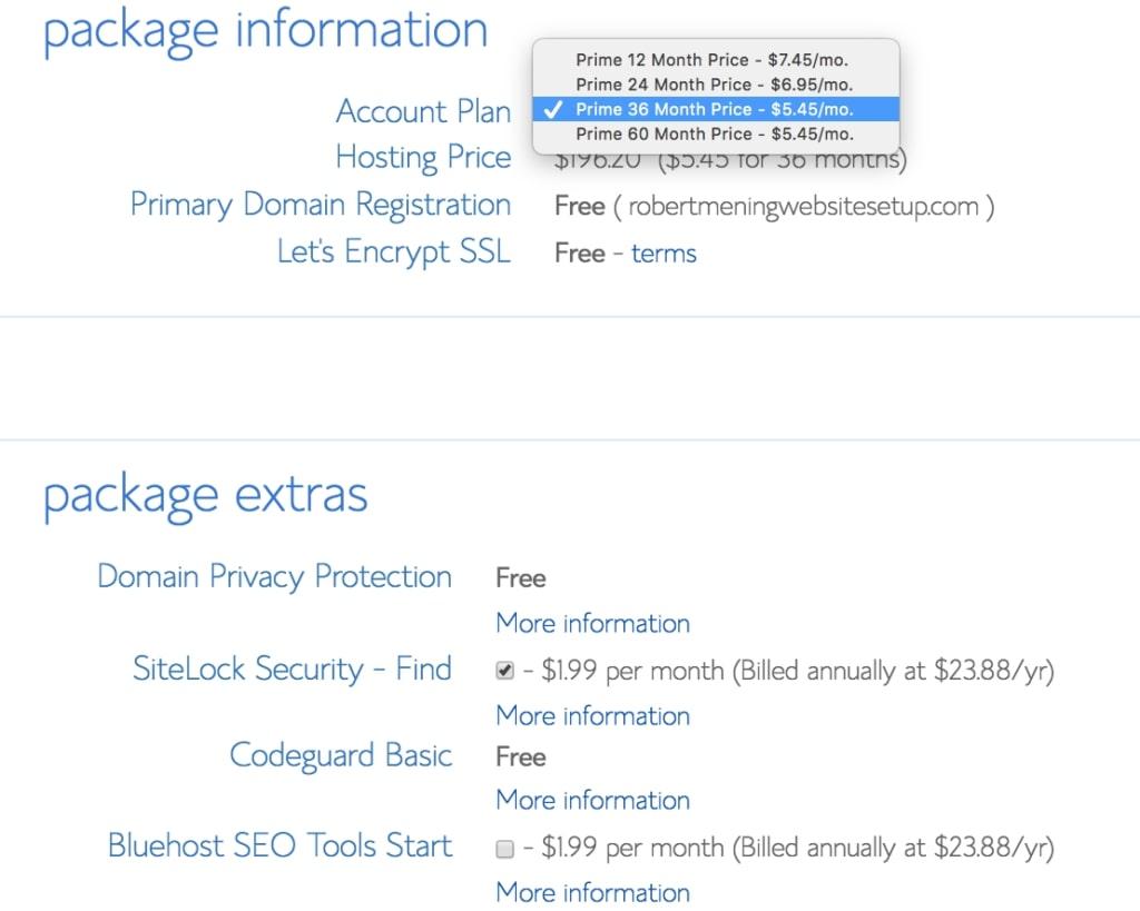web hosting package information